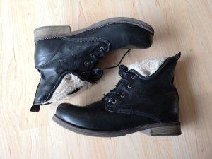 Bama Leder Boots Stiefel Schuhe gefüttert Kuschelfell