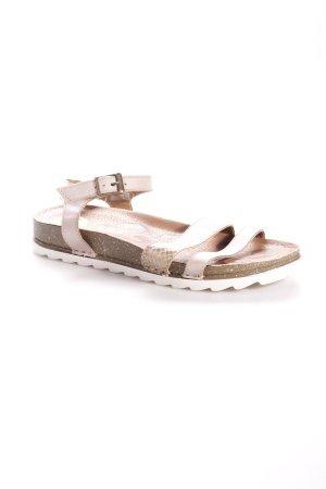 Bama Riemchen-Sandalen beige-goldfarben Animalmuster minimalistischer Stil