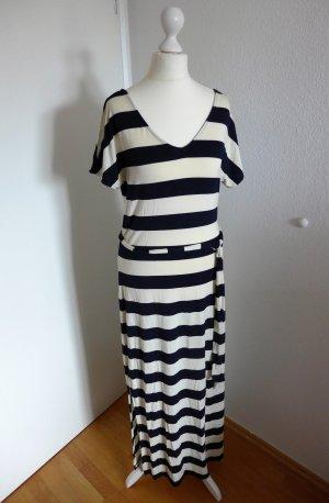 Banana Republic Kleid Navy Stripe schwarz weiß creme lang Gr. XS