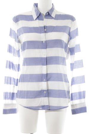 Banana Republic Blusa de manga larga blanco-azul aciano estampado a rayas