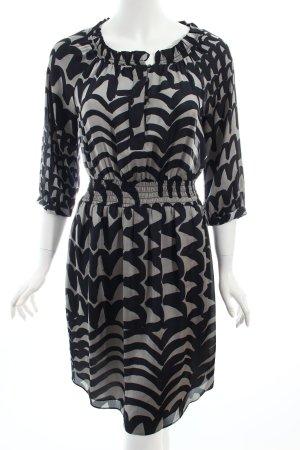 Banana Republic Midikleid schwarz-silberfarben abstraktes Muster Business-Look