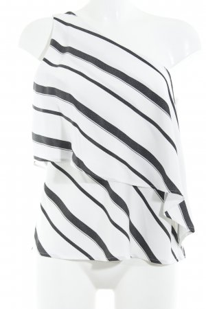 Banana Republic One Shoulder Top white-black striped pattern casual look