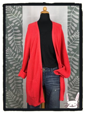 Banana Republic Coarse Knitted Jacket bright red cotton