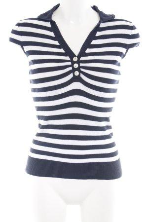 Banana Republic Polo Shirt neon blue-white striped pattern casual look