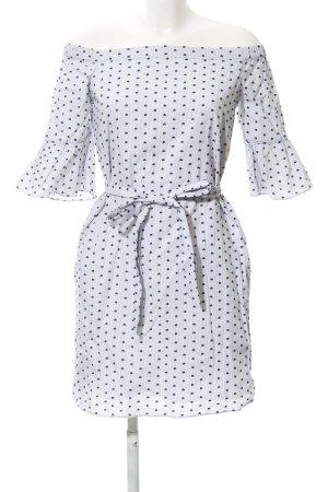 Banana Republic schulterfreies Kleid weiß-dunkelblau Nadelstreifen Elegant
