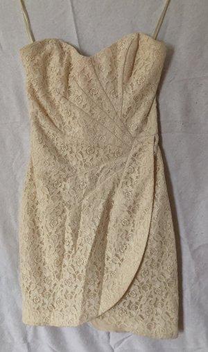 H&M Vestido bandeau blanco puro-crema