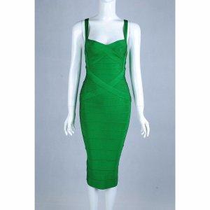 Bandagen Kleid Bodycon Grün V-Ausschnitt XS 34 Blogger