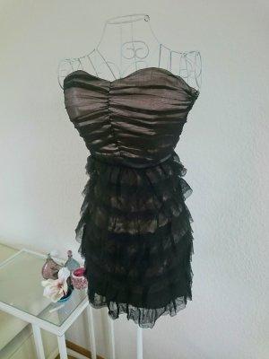 Bandeau Cocktail Kleid Tüll Nude Schwarz