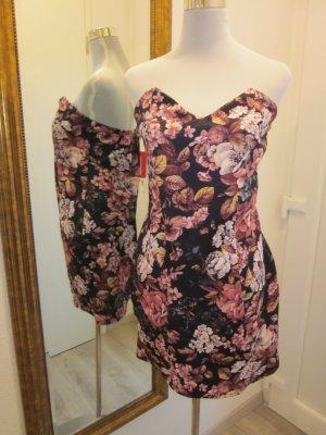 Bandeau Corsagen - Kleid Neu schwarz rosa Gr 42 Geblümt Rosen