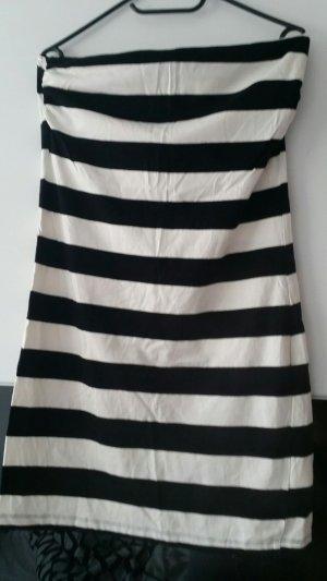H&M Abito a fascia bianco-nero Cotone