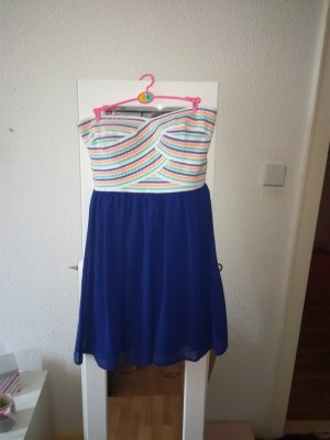 Amisu Vestido bandeau azul