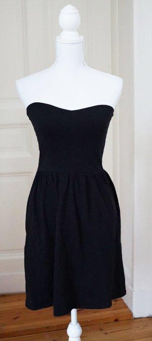 Bandeau Kleid Baumwolle ASOS schwarz trägerlos bequem stretch dehnbar 36 S