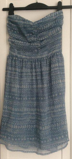Bandeau Kleid Chiffon Mango GR S  34 / 36 Neu denimblau blau