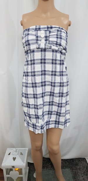 Vestido strapless blanco-azul