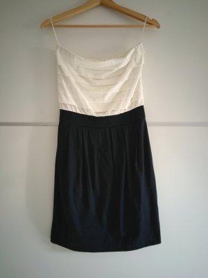 Mango Vestido bandeau blanco-azul oscuro