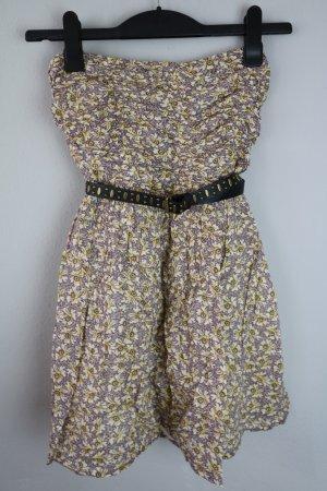 Bandeau Kleid geblümt braun beige Gr. M Zara TRF