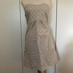 Bandeau Kleid Gr.38 beige weiß Punkte