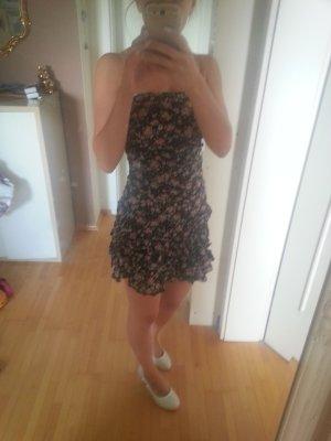 Bandeau Kleid Lagenrock mit Blümchen