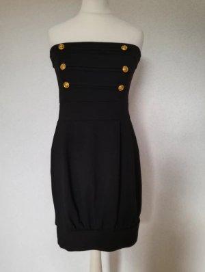 Bandeau Kleid mit Gold Knöpfe Minikeid schwarz