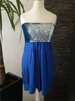 Bandeau Kleid Pailletten Longtop Minikleid Long Top Shirt Gr.S/M Schulterfrei