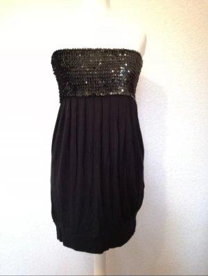 Bandeau Kleid Pailletten Minikleid Schulterfrei Partykleid