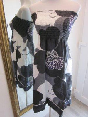 Bandeau Kleid schwarz grau weiss Gr XS/S #Dept