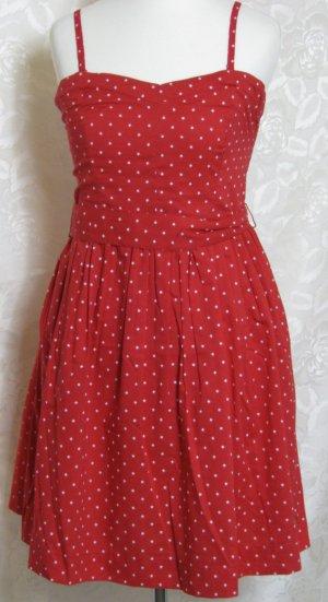 Bandeau Kleid Trägerlos Größe 36 Rot Star Print Gürtel