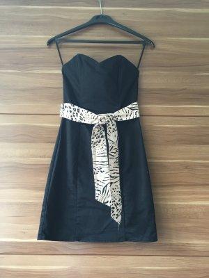 H&M Studio Vestido bandeau negro-crema