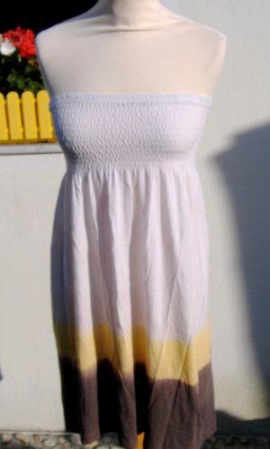 Bandeau Kleid weiss - Batik braun/gelb