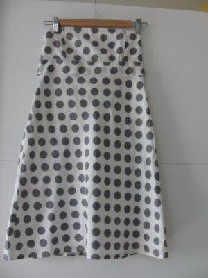Bandeau-Kleid weiß mit grauen Punkten