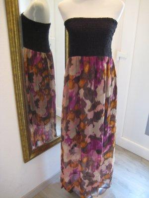 Bandeau Maxi Kleid schwarz bunt Gr L
