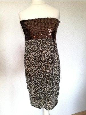 Bandeau Minikleid Leo Look Pailletten Schulterfrei Kleid