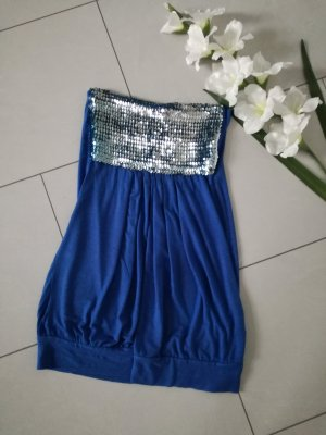 Bandeau Minikleid Longtop Pailletten Schulterfrei Kleid Long Top