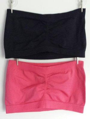 Bandeau-Set in schwarz und pink