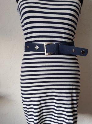 Bandeau-Stretchkleid Marinelook blau-weiß gestreift Gr. M