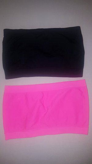 Bandeau top zwart-roze