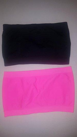 Top a fascia nero-rosa