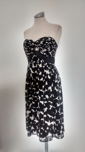 Bandeaukleid Bandeau Kleid trägerlos Esprit Gr. 38 S M Herzen schwarz weiß