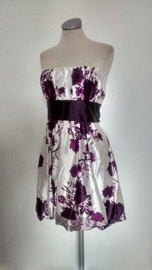 Bandeaukleid Bandeau Kleid weiß lila Satin Minikleid Qed Cocktailkleid Gr. M 38