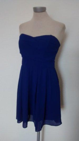 Bandeaukleid Gr. L 40 blau Kleid trägerlos Minikleid Chiffon Partykleid TFNC