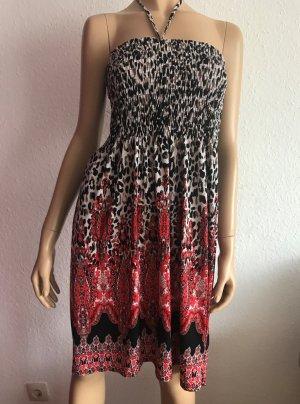 Bandeaukleid Gr. M/L Bustierkleid Cocktailkleid kurzes Kleid Leopardenmuster Sommerkleid