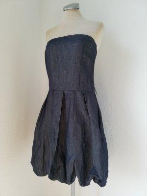 Bandeaukleid Jeanskleid trägerlos blau Leinen Baumwolle Gr. L 40 Rinascimento