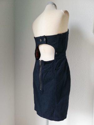 Bandeaukleid Kleid trägerlos Gr. UK 18 EUR 44 XL blau Minikleid kurz River Island