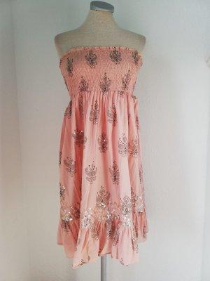 Bandeaukleid Kleid trägerlos rosa Gr. UK 10 EUR 38 S M Baumwolle kurz Minikleid New Look Pailletten
