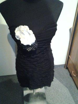 Bandeaukleid - schwarz - mit Blume - Push-Up - Muse - Größe L