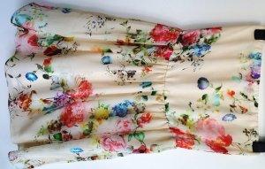 Bandeaukleid von ZARA, Créme-Weiß mit Blumenprint, Gr. 34