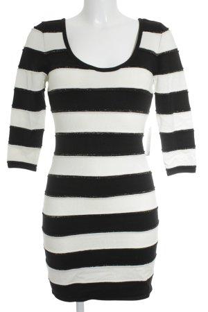 Bandeaukleid weiß-schwarz Streifenmuster Casual-Look