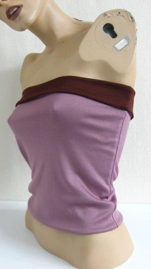 Bandeau top stoffig roze-bordeaux Polyester