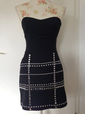 Vestido bandeau negro-color plata