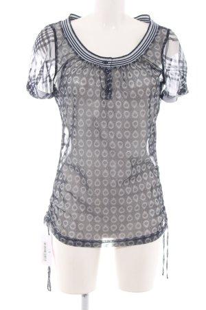 Bandolera Kurzarm-Bluse weiß-schwarz Allover-Druck Elegant